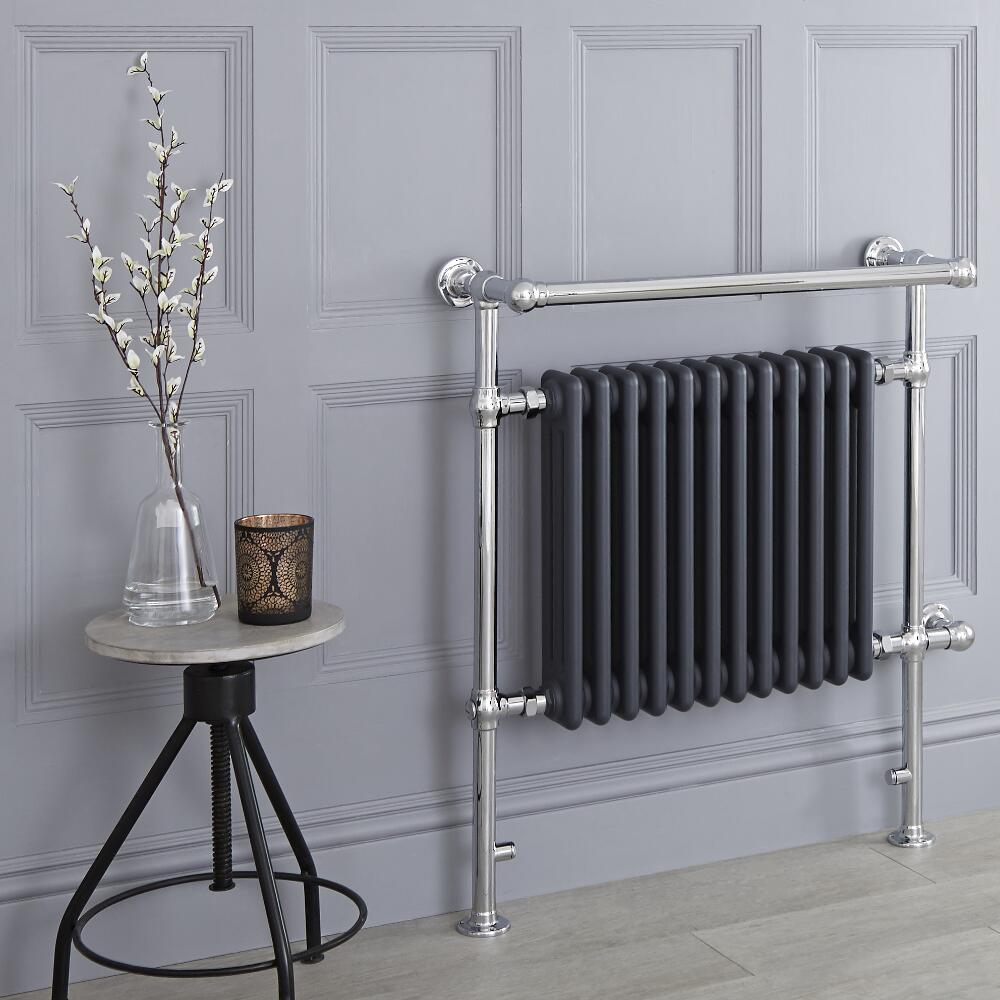 Milano Trent - Anthracite Traditional Electric Heated Towel Rail - 930mm x 790mm (With Overhanging Rail)