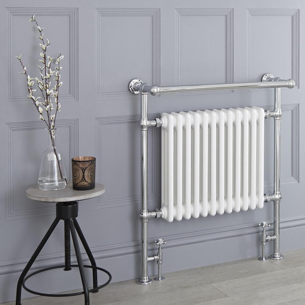 Milano Elizabeth - White Traditional Heated Towel Rail - 930mm x 790mm (With Overhanging Rail)