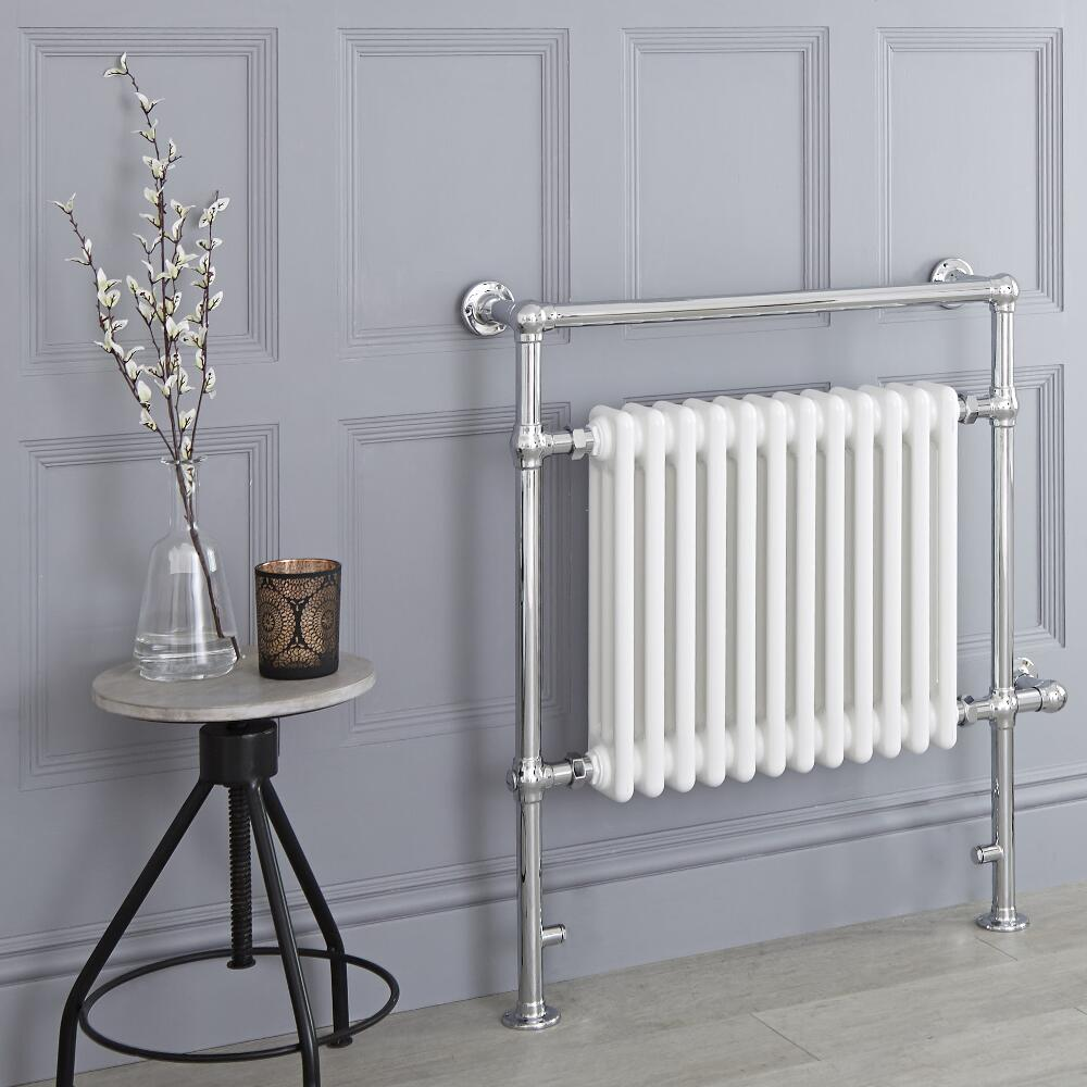 Milano Trent - White Traditional Electric Heated Towel Rail - 930mm x 790mm (Flat Top Rail)