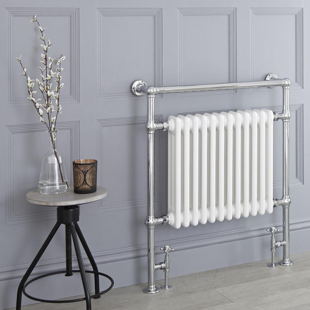 Milano Trent - White Traditional Heated Towel Rail - 930mm x 790mm (Flat Top Rail)