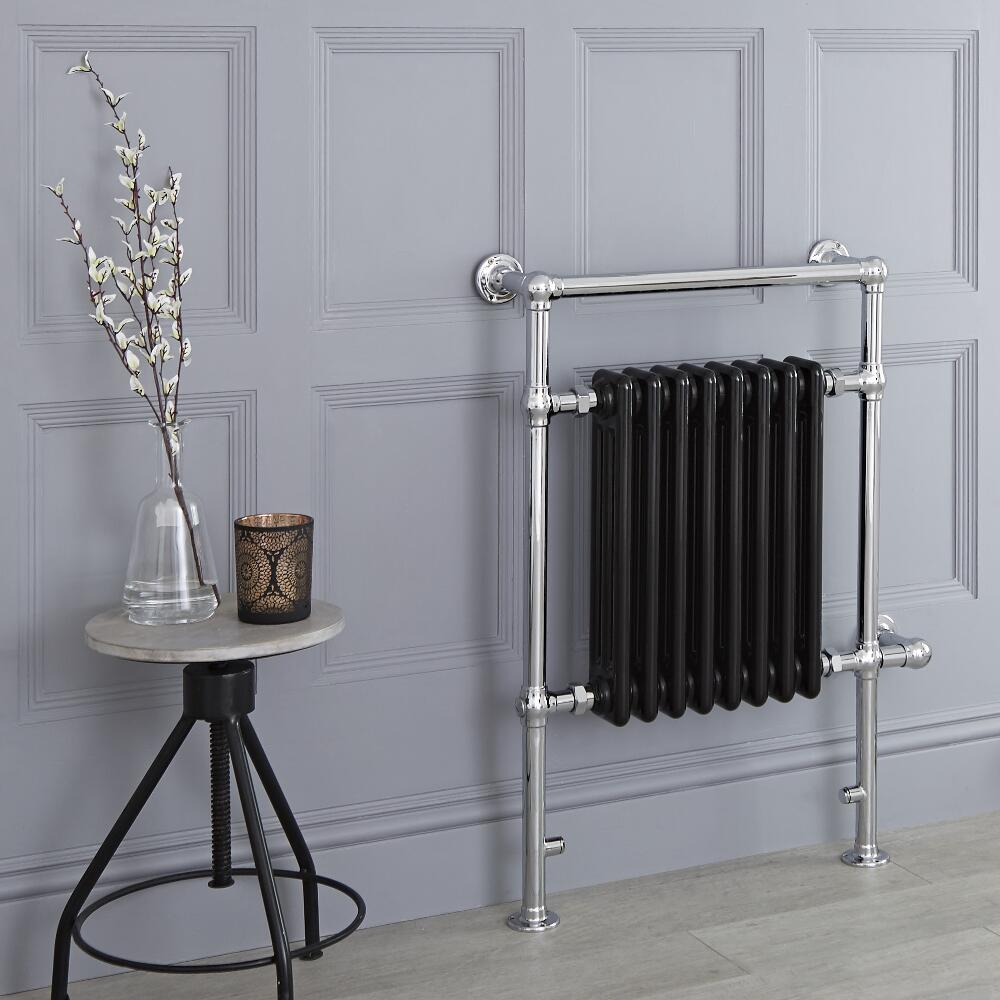 Milano Trent - Black Traditional Electric Heated Towel Rail - 930mm x 620mm (Flat Top Rail)