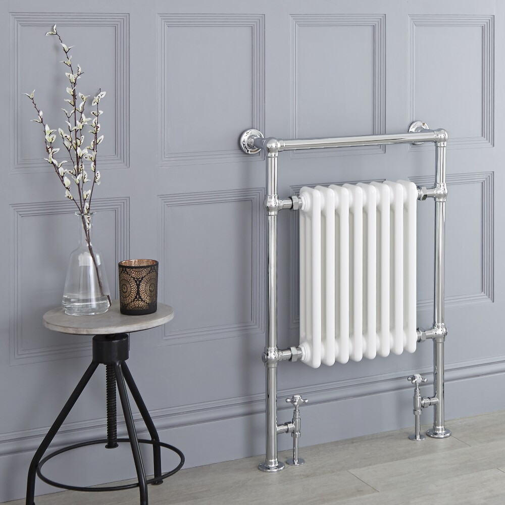 Milano Trent - Traditional Heated Towel Radiator 930mm x 620mm (Flat Top Rail)