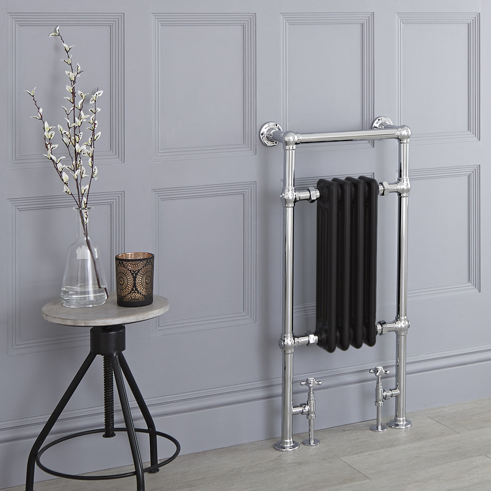 Milano Elizabeth - Black Traditional Heated Towel Rail - 930mm x 450mm (Flat Top Rail)