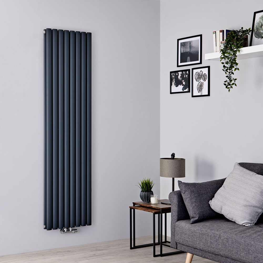 Milano Aruba Flow - Anthracite Double Panel Middle Connection Designer Vertical Radiator 1780mm x 472mm