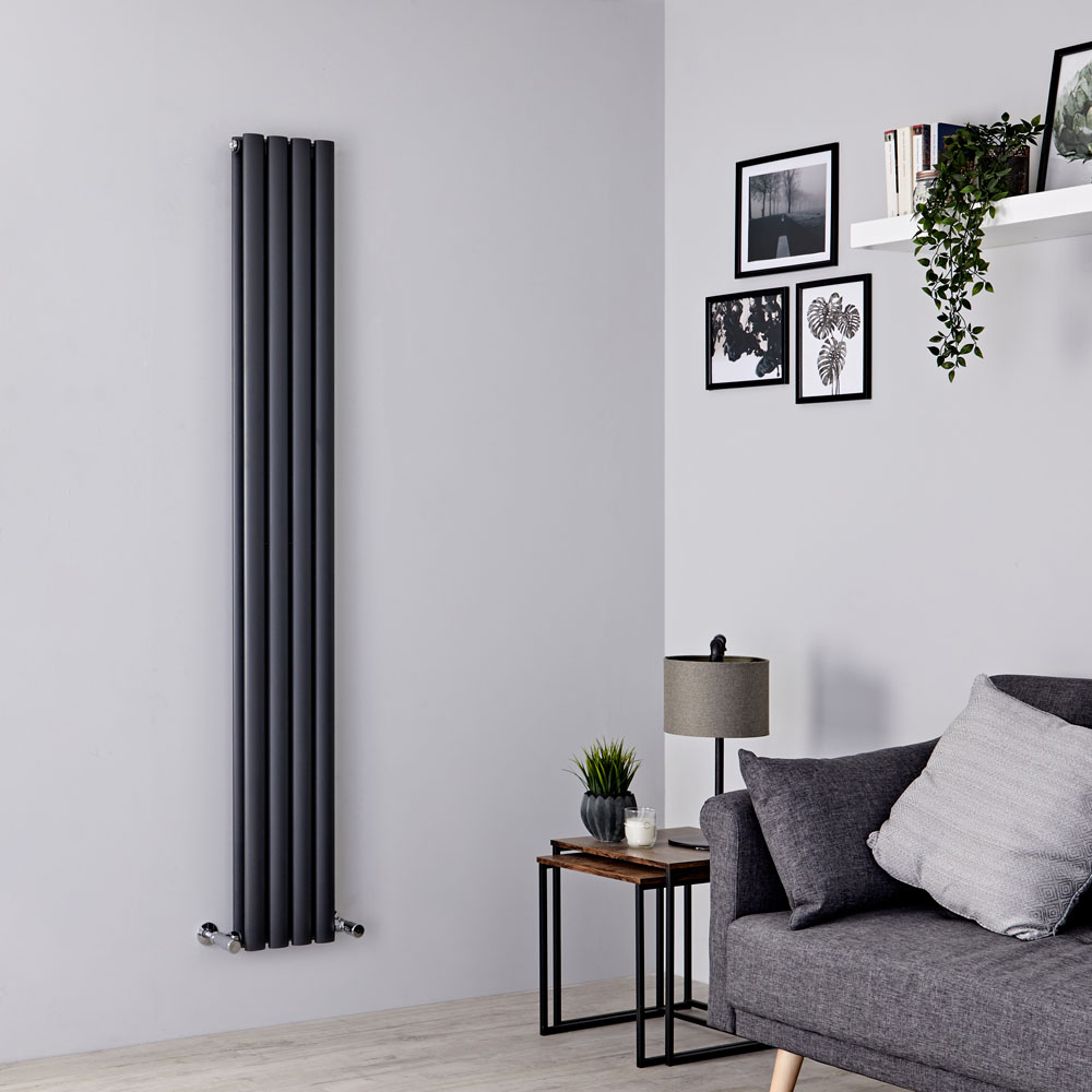 Milano Aruba Slim - Anthracite Space-Saving Vertical Designer Double Radiator 1780mm x 236mm