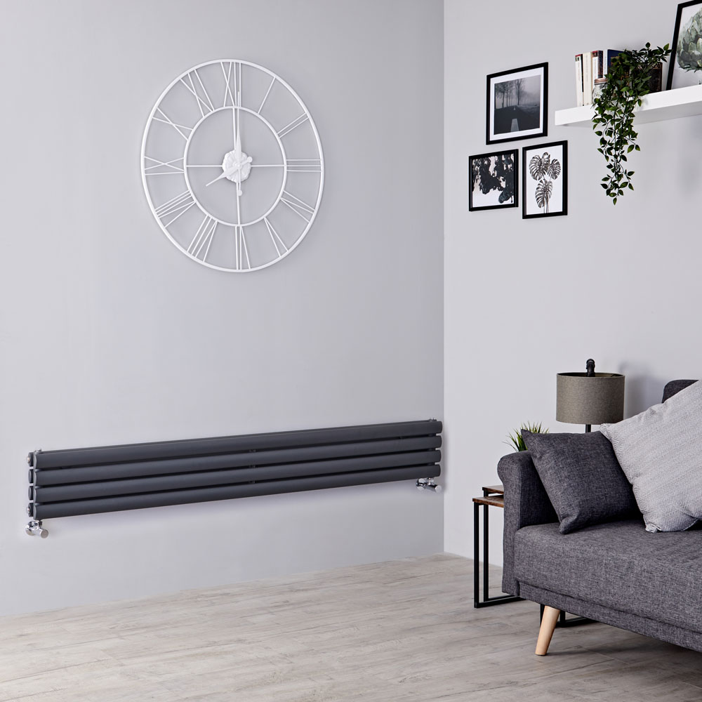 Milano Aruba - Anthracite Horizontal Designer Radiator 236mm x 1780mm (Double Panel)
