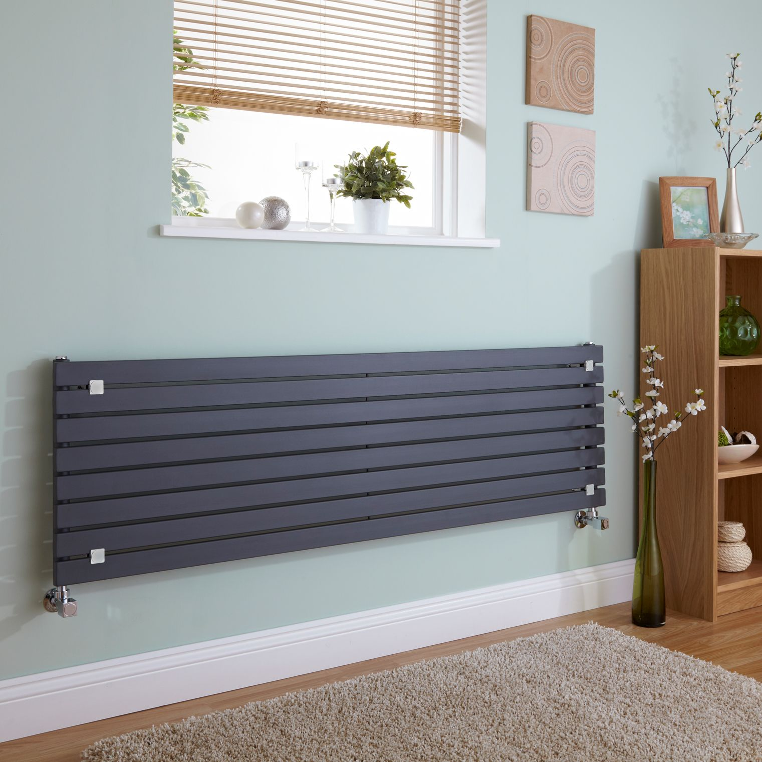 Milano Capri - Anthracite Horizontal Flat Panel Designer Radiator 472mm x 1780mm