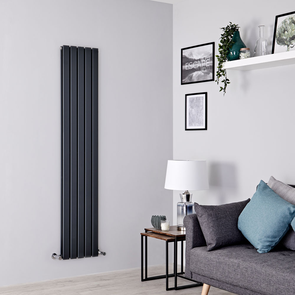 Milano Alpha - Anthracite Vertical Double Slim Panel Designer Radiator 1780mm x 350mm