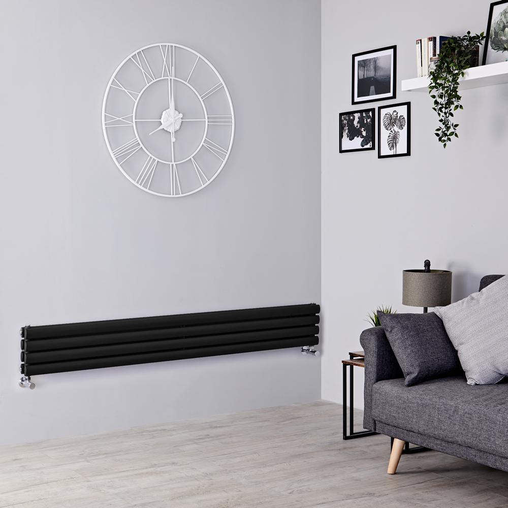Milano Aruba - Black Horizontal Designer Radiator 236mm x 1780mm (Double Panel)