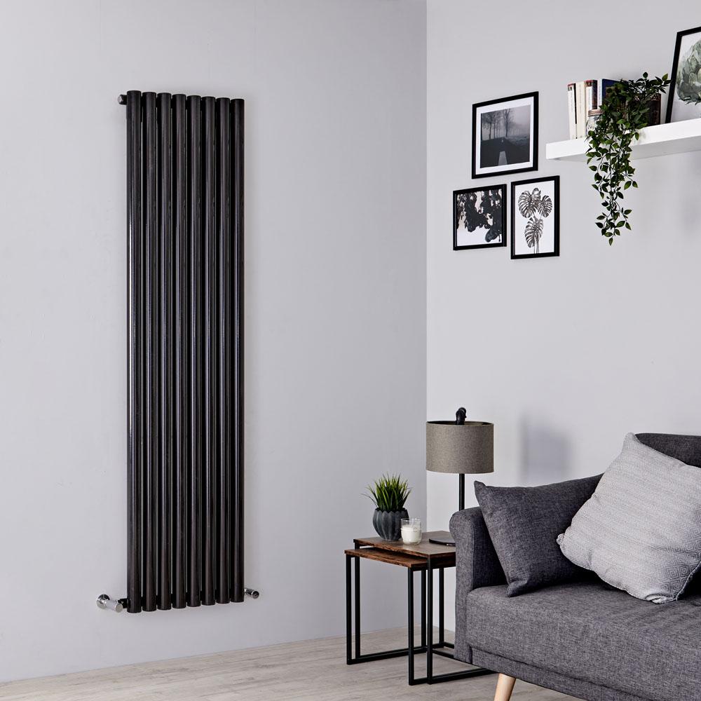Milano Java - Black Vertical Round Tube Designer Radiator 1780mm x 472mm