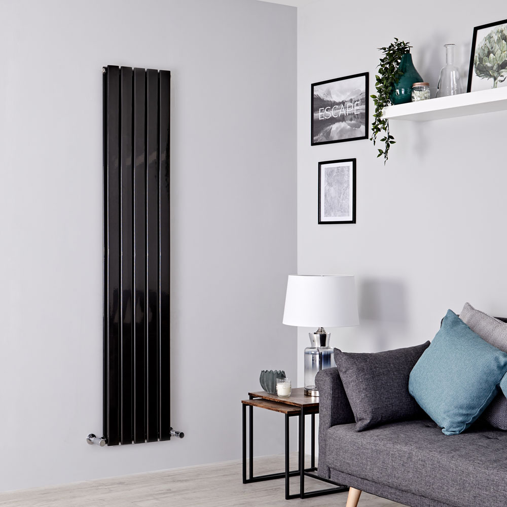 Milano Alpha - Black Vertical Double Designer Radiator 1780mm x 350mm