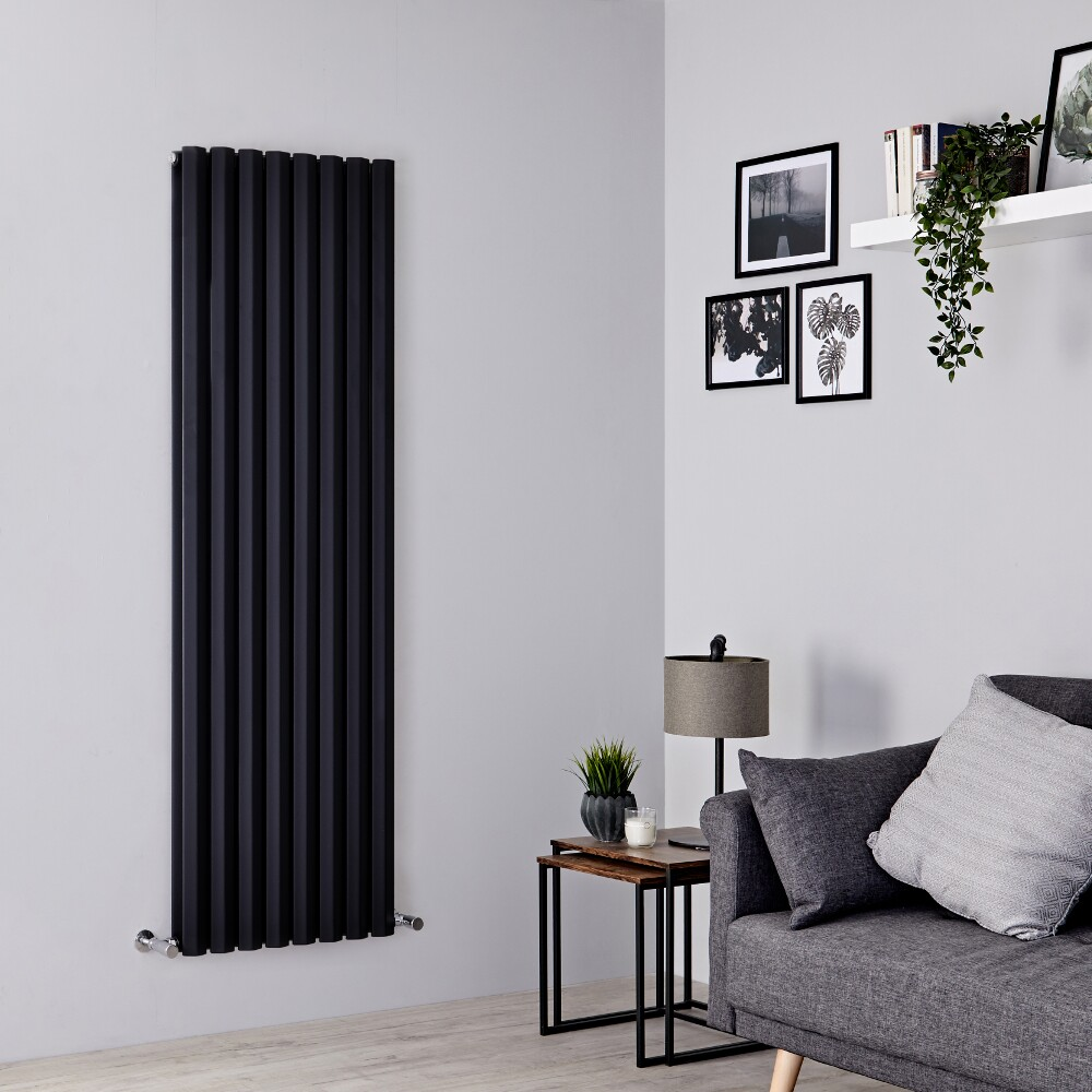 Milano Viti - Black Vertical Diamond Double Panel Designer Radiator 1780mm x 560mm