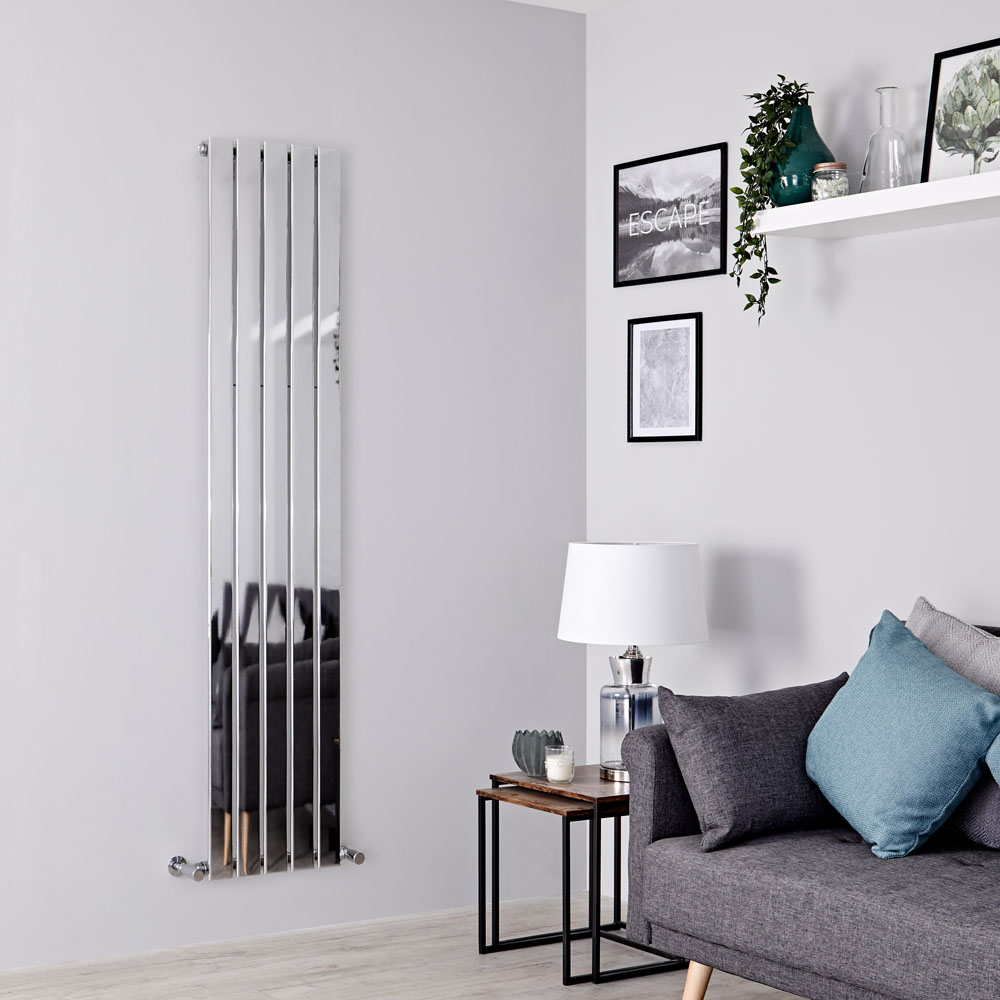 Milano Alpha - Chrome Vertical Slim Panel Designer Radiator 1800mm x 375mm