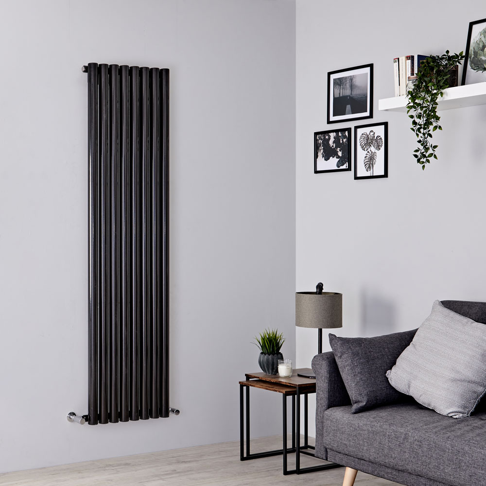 Milano Java - Black Vertical Round Tube Designer Radiator 1780mm x 472mm