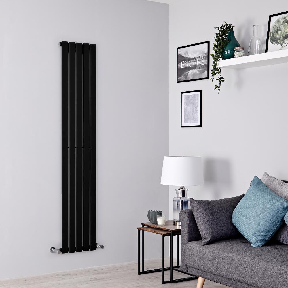 Milano Alpha - Black Vertical Single Designer Radiator 1780mm x 350mm