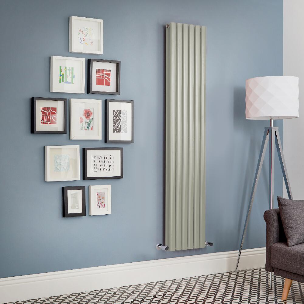 Milano Aruba - Sage Green Vertical Double Panel Designer Radiator - Various Sizes