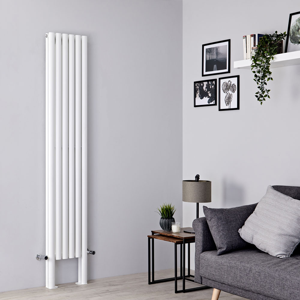 Milano Aruba Plus - White Vertical Designer Radiator with Feet 2000mm x 354mm (Double Panel)