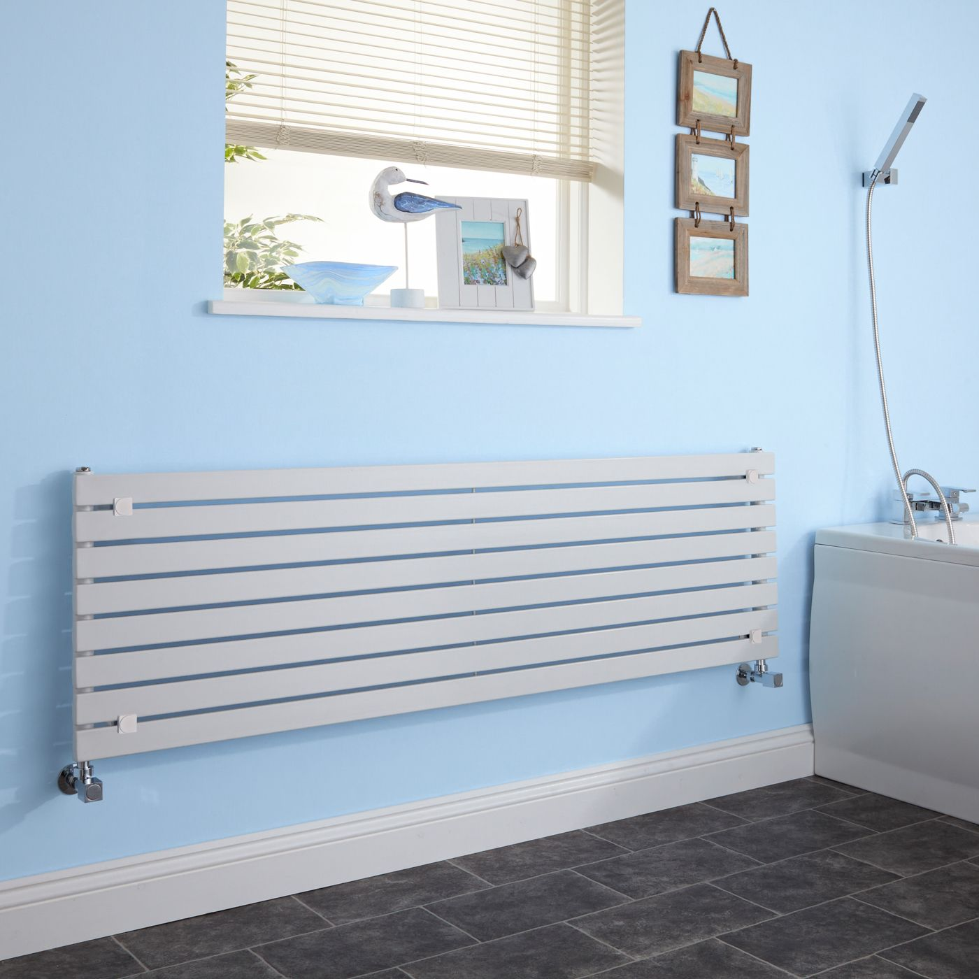 Milano Capri - White Horizontal Flat Panel Designer Radiator 472mm x 1780mm