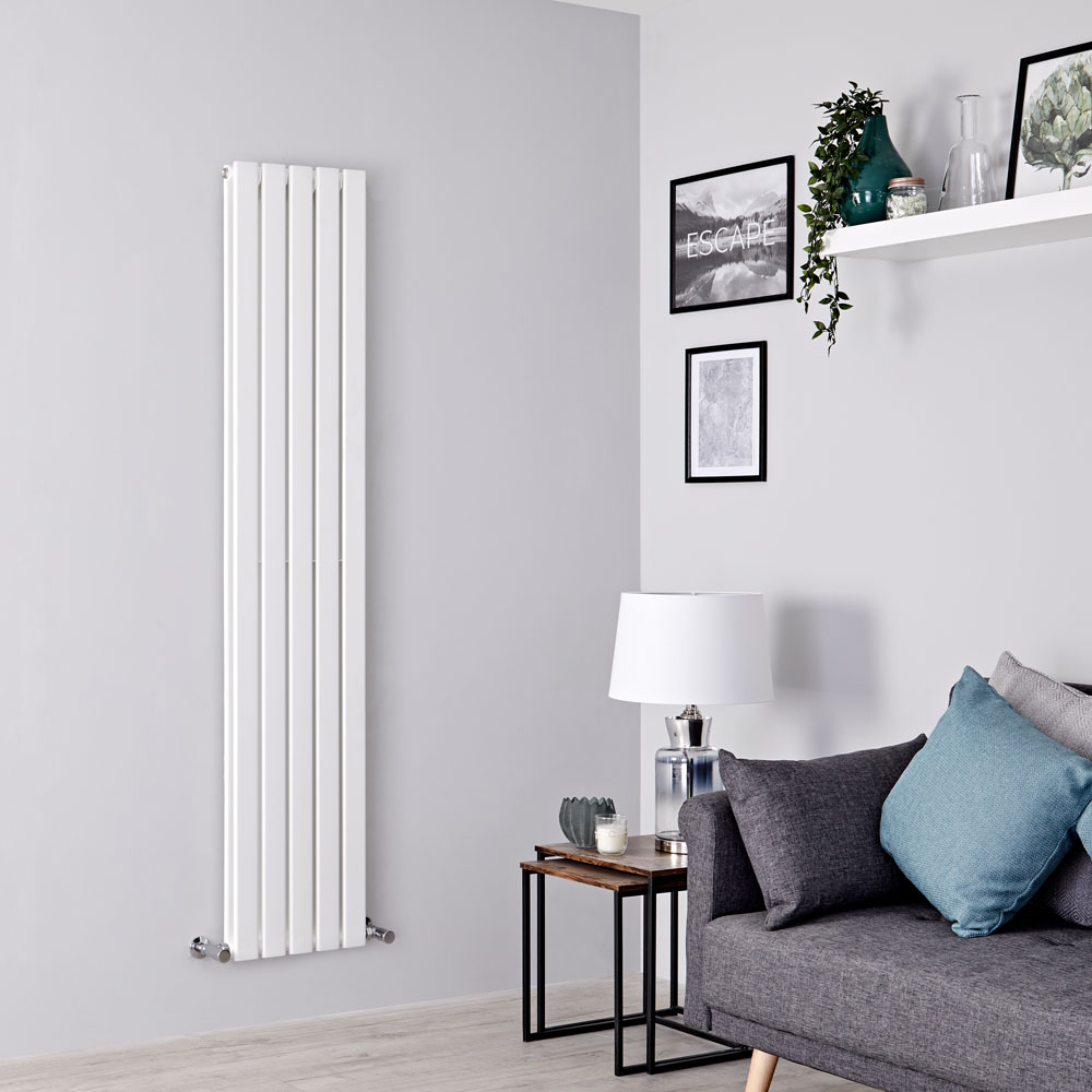 Milano Alpha - Slim White Double Panel Designer Vertical Radiator 1780mm x 350mm