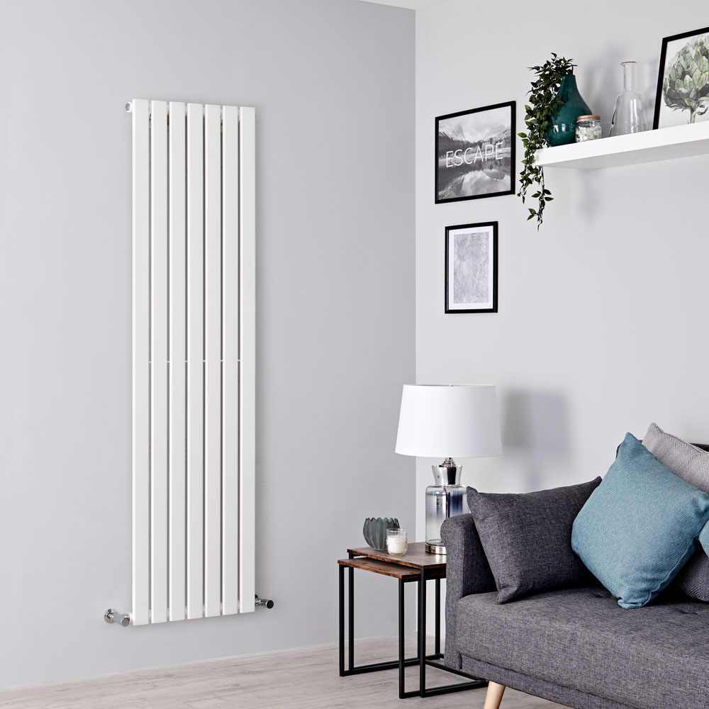 Milano Alpha - White Vertical Single Slim Panel Designer Radiator 1780mm x 490mm