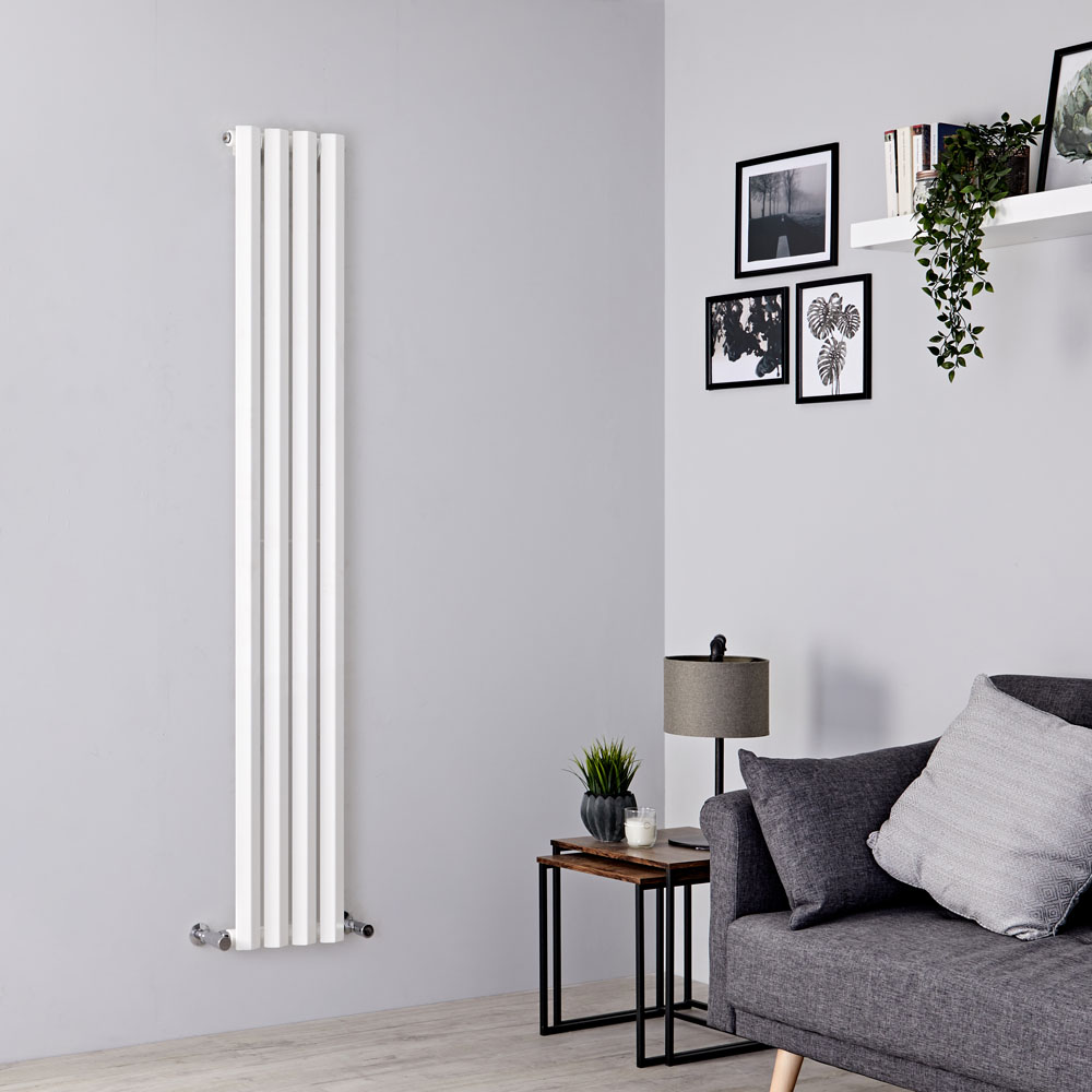 Milano Viti - White Vertical Diamond Panel Designer Radiator 1780mm x 280mm