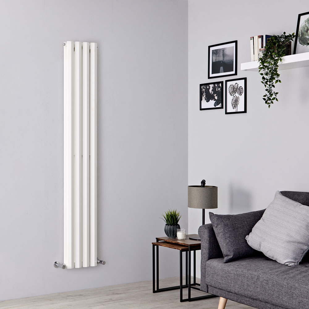 Milano Viti - White Vertical Diamond Double Panel Designer Radiator 1780mm x 280mm