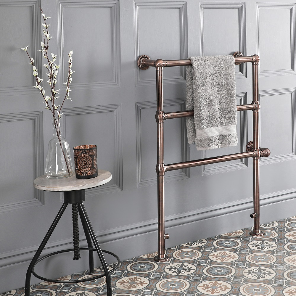 Milano Minimalist Electric Traditional Heated Towel Rail 930mm x 632mm - Oil Rubbed Bronze