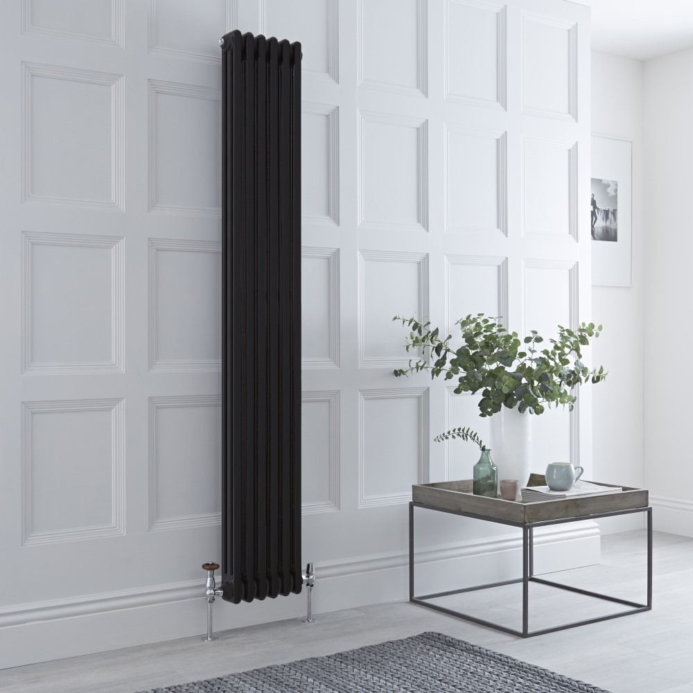 Milano Windsor - Vertical Triple Column Black Traditional Cast Iron Style Radiator - 1800mm x 290mm