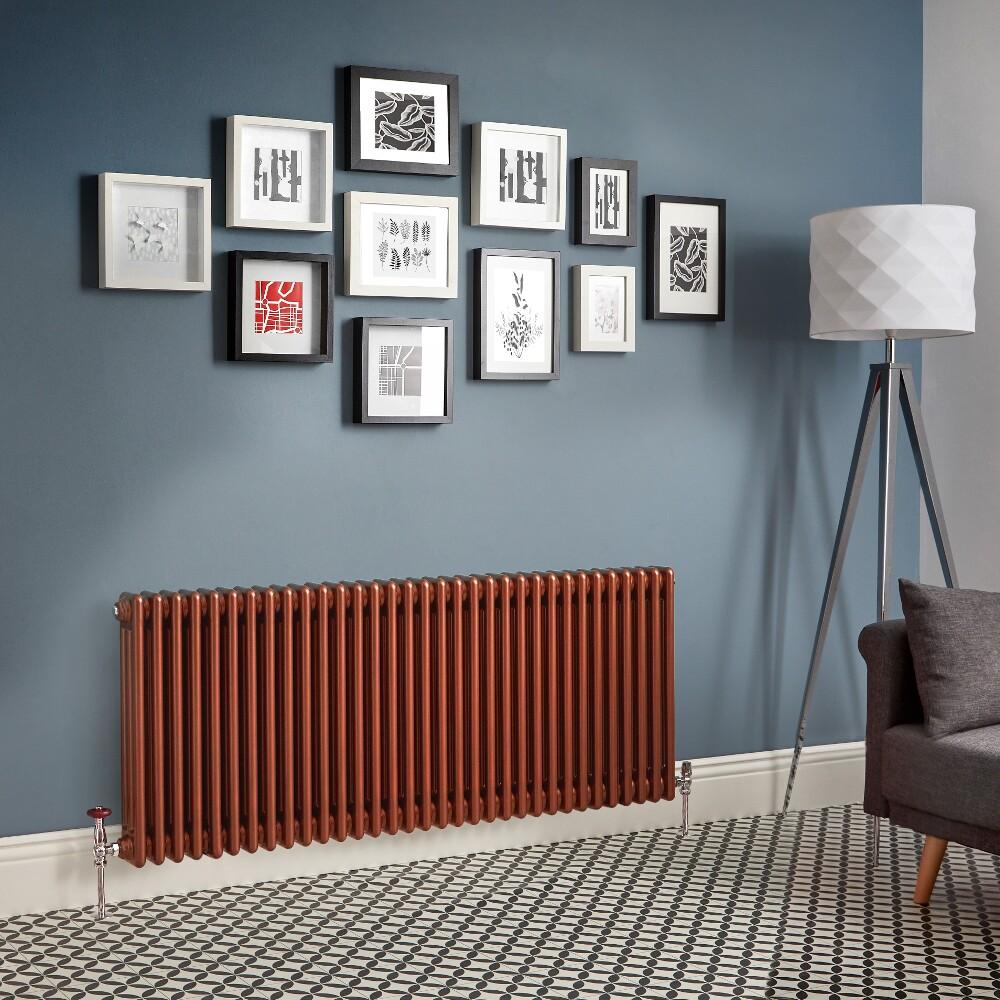 Milano Windsor - Metallic Copper Horizontal Traditional Column Radiator (Triple Column) - Various Sizes