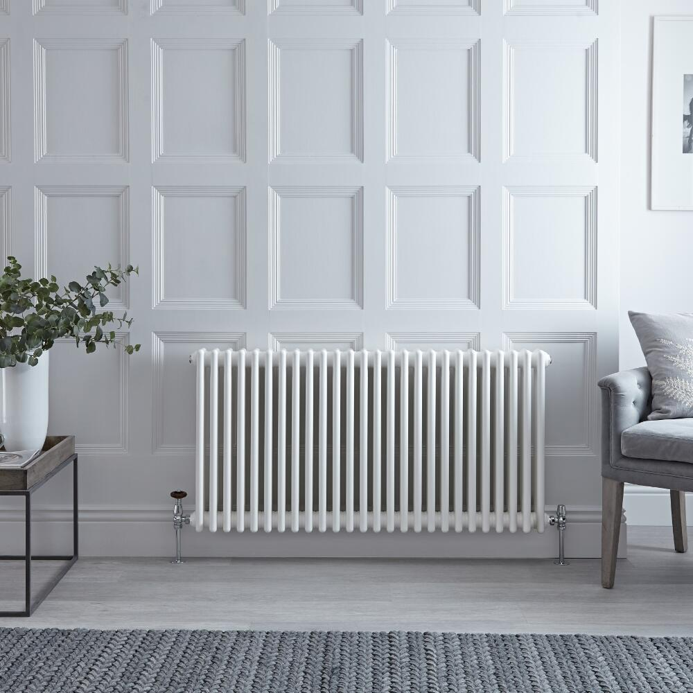 Milano Windsor - Horizontal Four Column White Traditional Cast Iron Style Radiator - 600mm x 1190mm