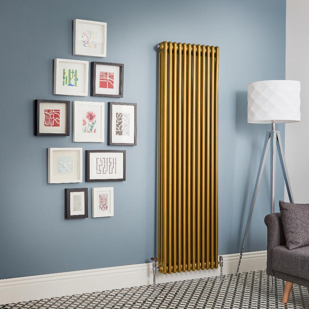 Milano Windsor - Metallic Gold Vertical Traditional Column Radiator (Triple Column) - Various Sizes