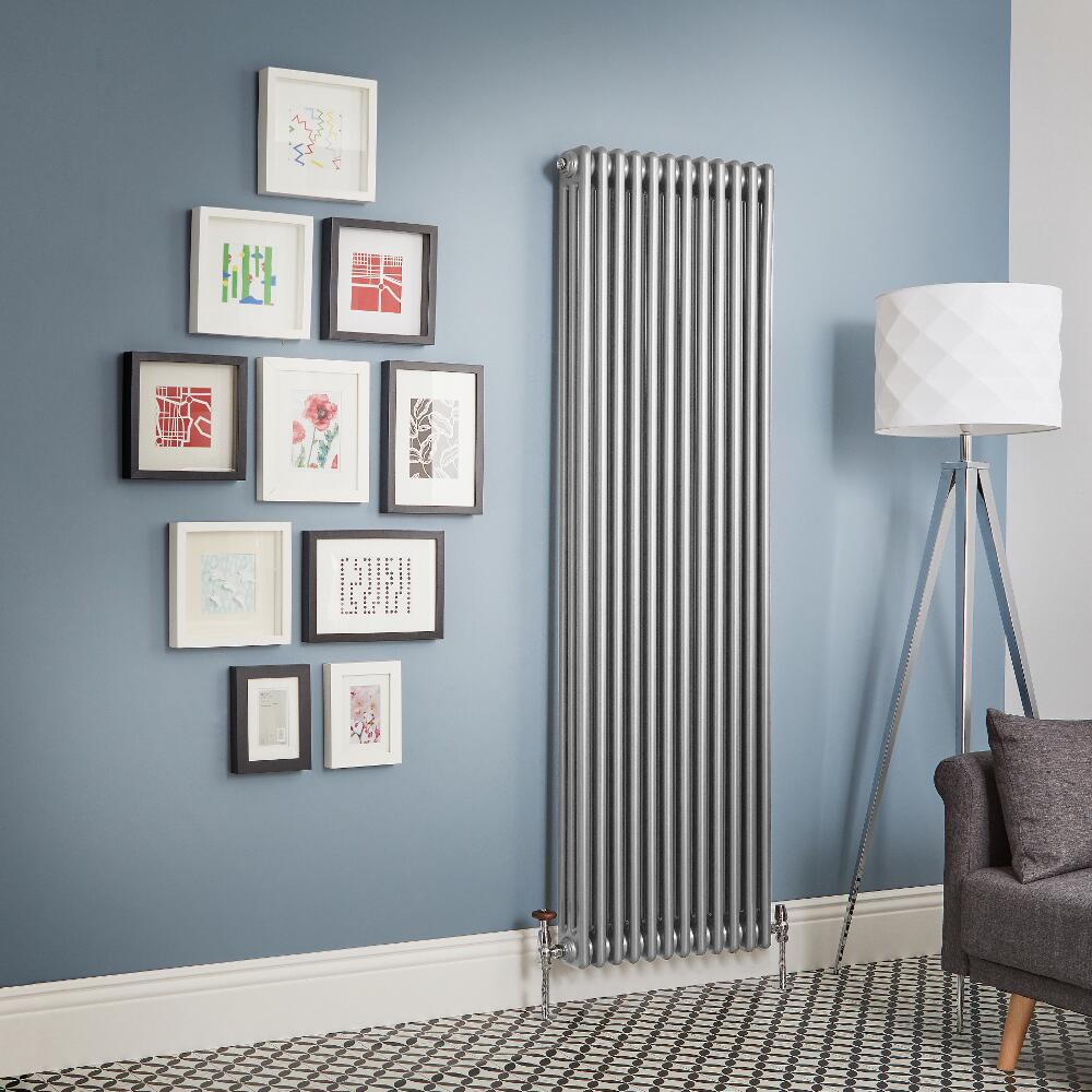 Milano Windsor - Metallic Silver Vertical Traditional Column Radiator (Triple Column) - Various Sizes