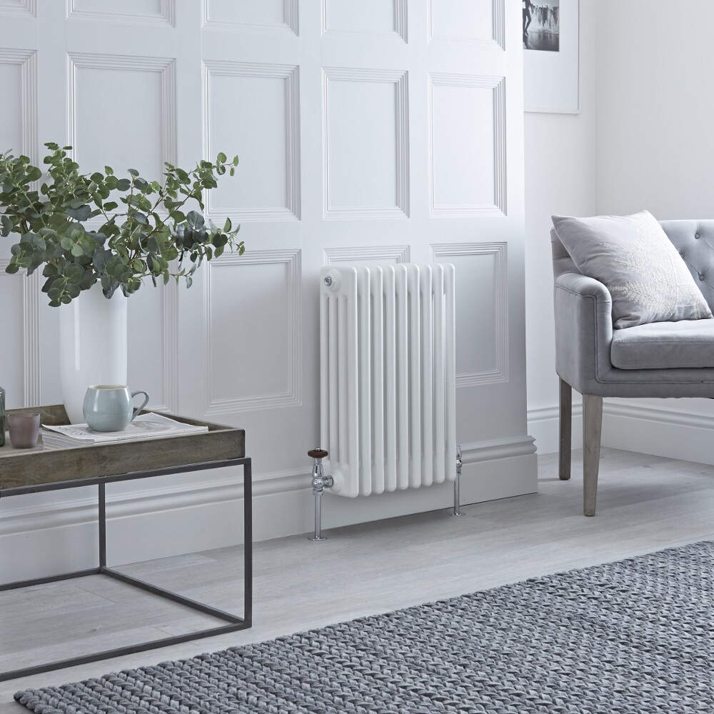 Milano Windsor - Horizontal Four Column White Traditional Cast Iron Style Radiator - 600mm x 425mm