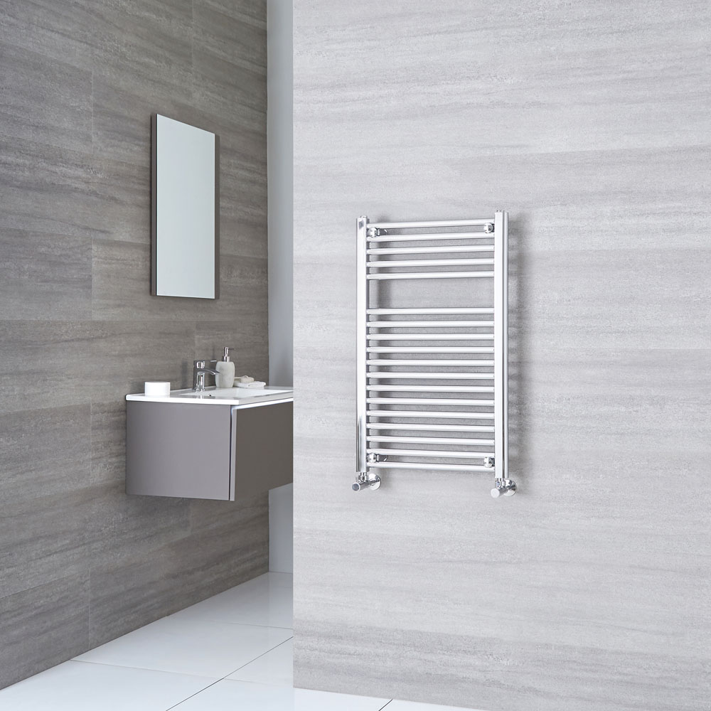 Sterling - Premium Chrome Flat Heated Towel Rail Radiator 800mm x 500mm