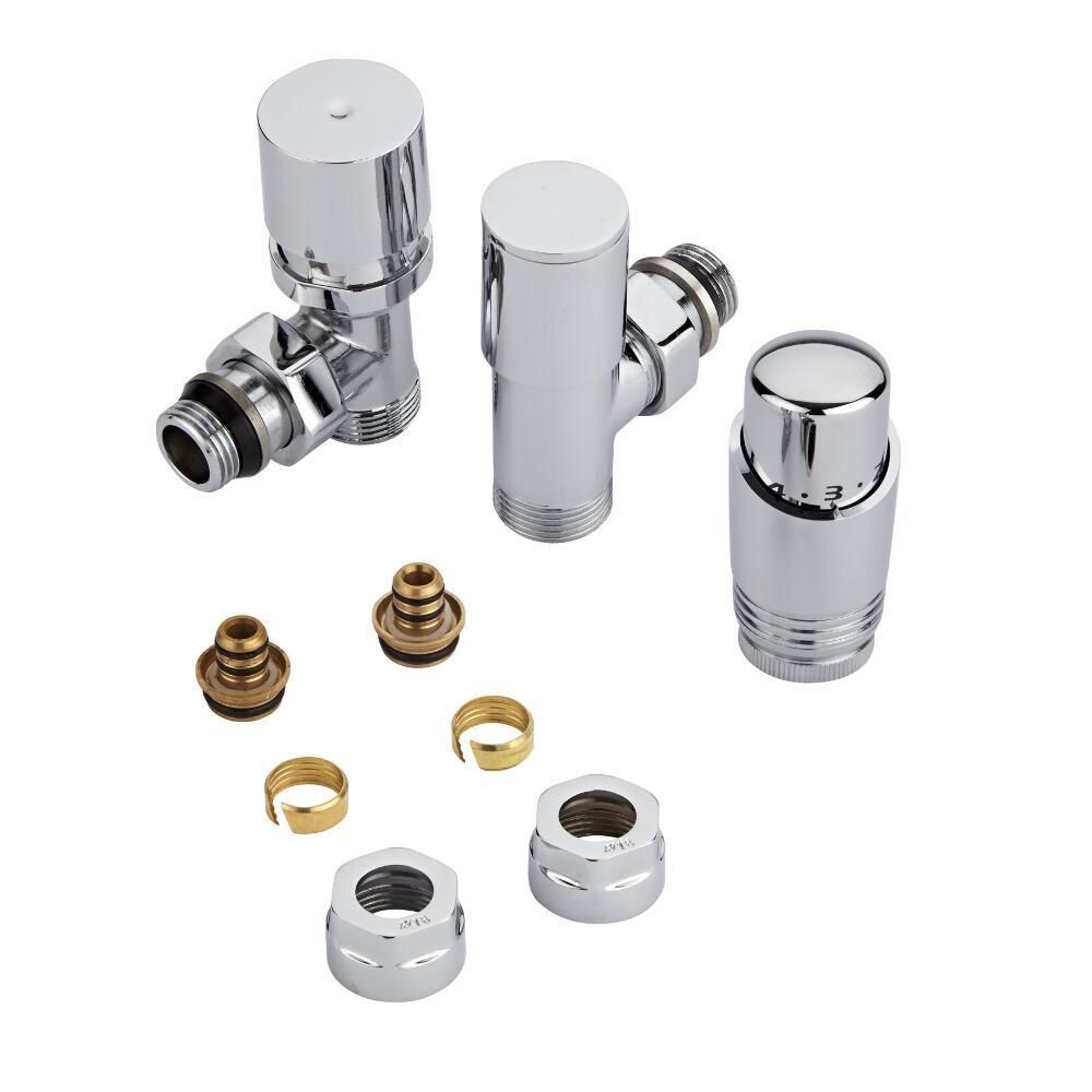 Chrome 3/4'' Male Thread Valve with Chrome TRV & 16mm Multi Adapters