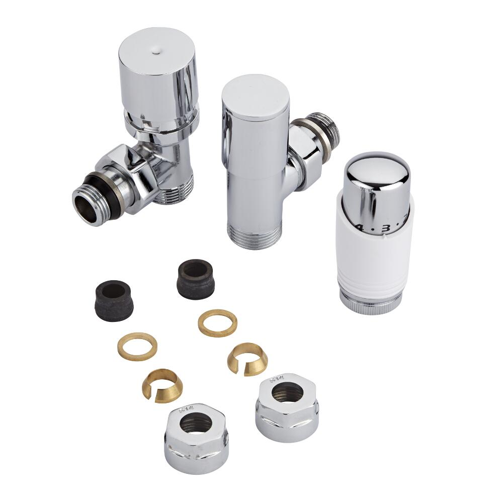 Chrome 3/4'' Male Thread Valve with White TRV & 14mm Copper Adapters