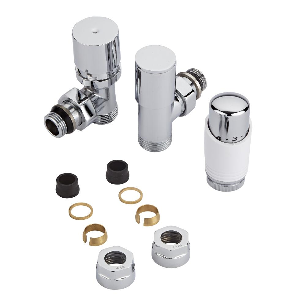 Chrome 3/4'' Male Thread Valve with White TRV & 16mm Copper Adapters