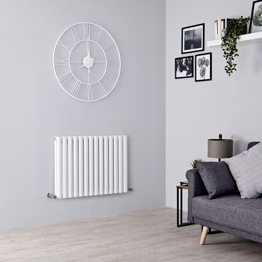 Milano Aruba Aiko - Modern White Horizontal Designer Radiator 600mm x 834mm (Double Panel)