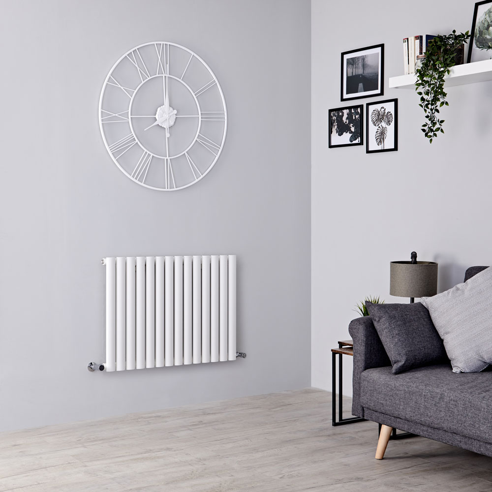 Milano Aruba - Modern White Horizontal Designer Radiator 600mm x 834mm (Single Panel)