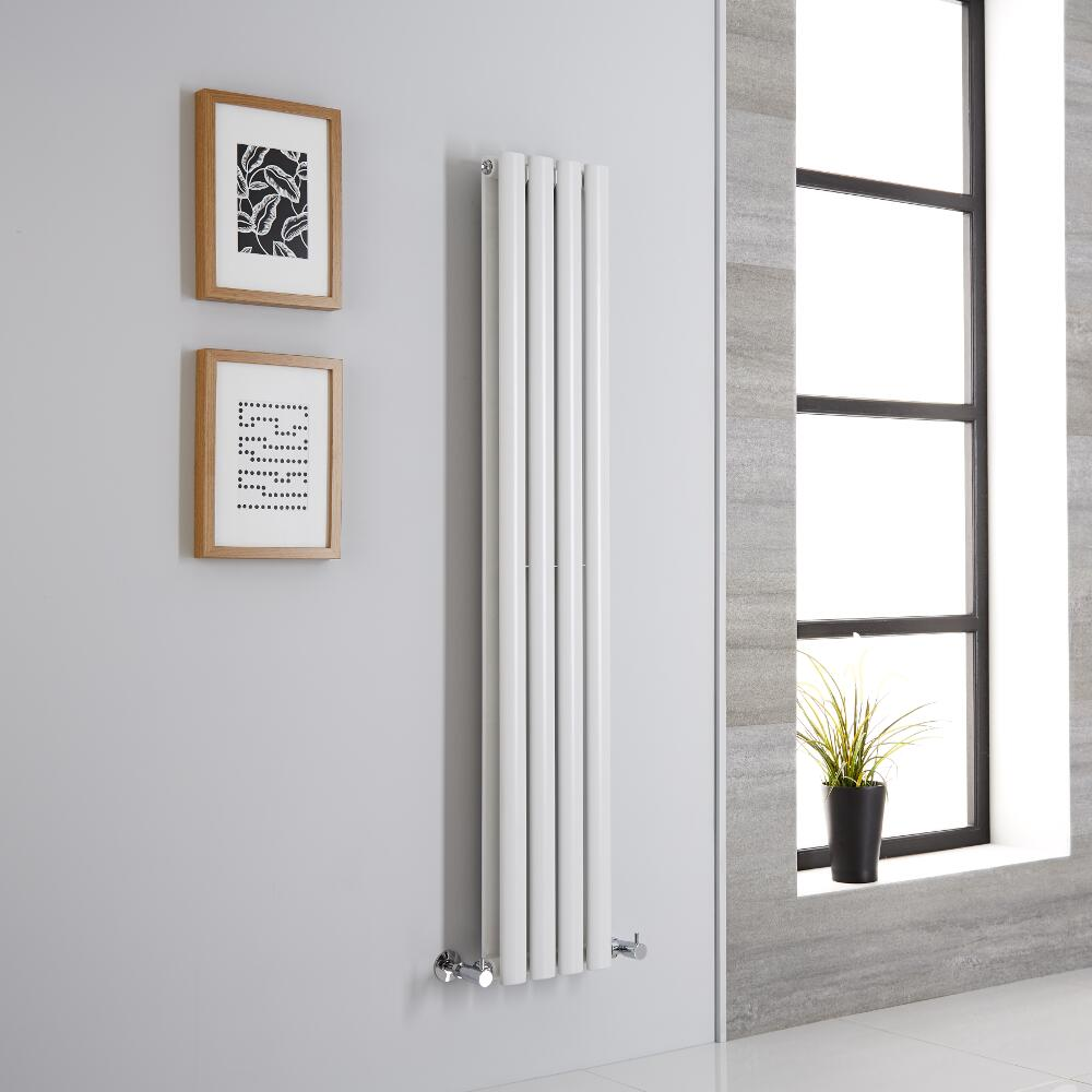 Milano Aruba Aiko - Modern White Vertical Designer Radiator 1400mm x 236mm (Double Panel)