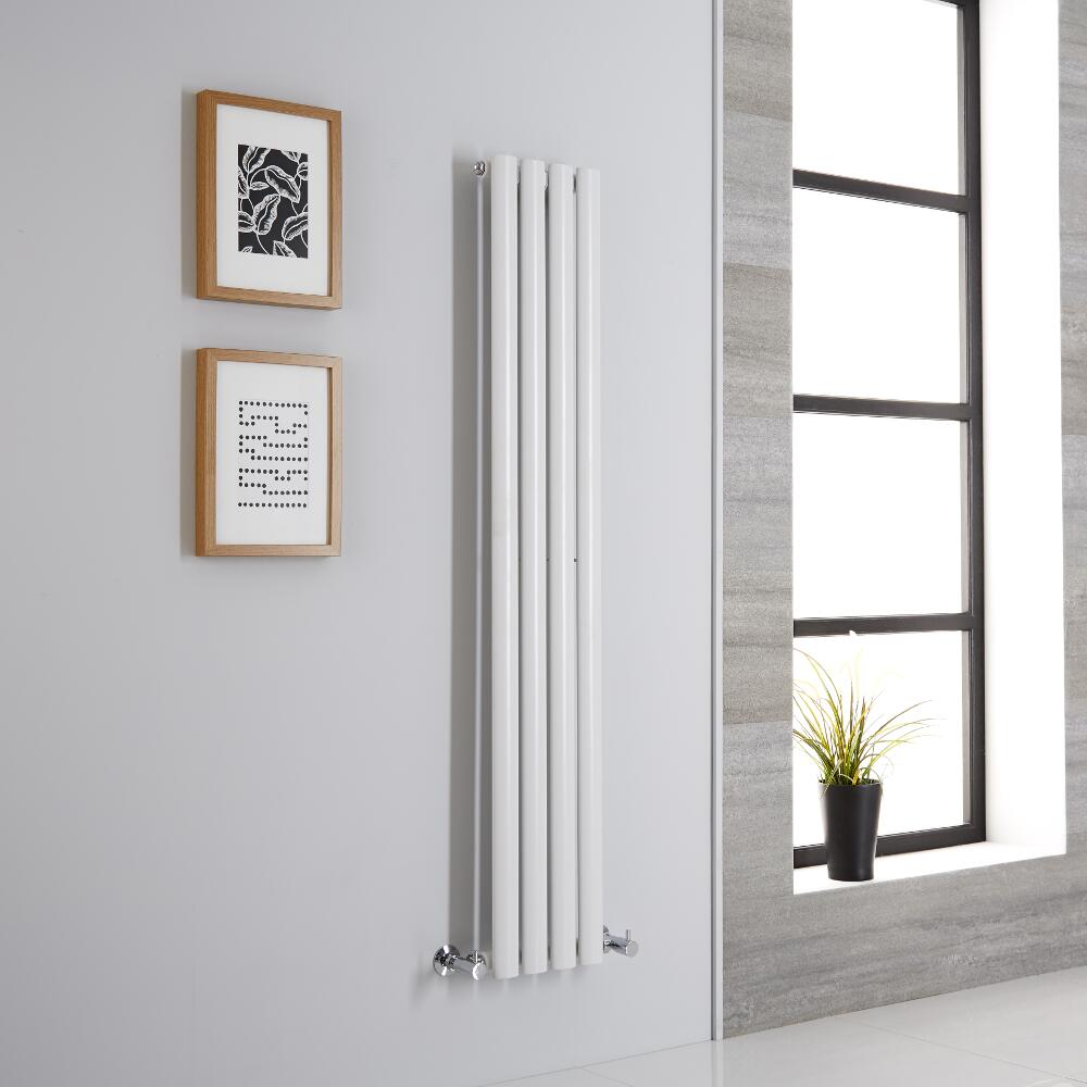 Milano Aruba - Modern White Vertical Designer Radiator 1400mm x 236mm (Single Panel)