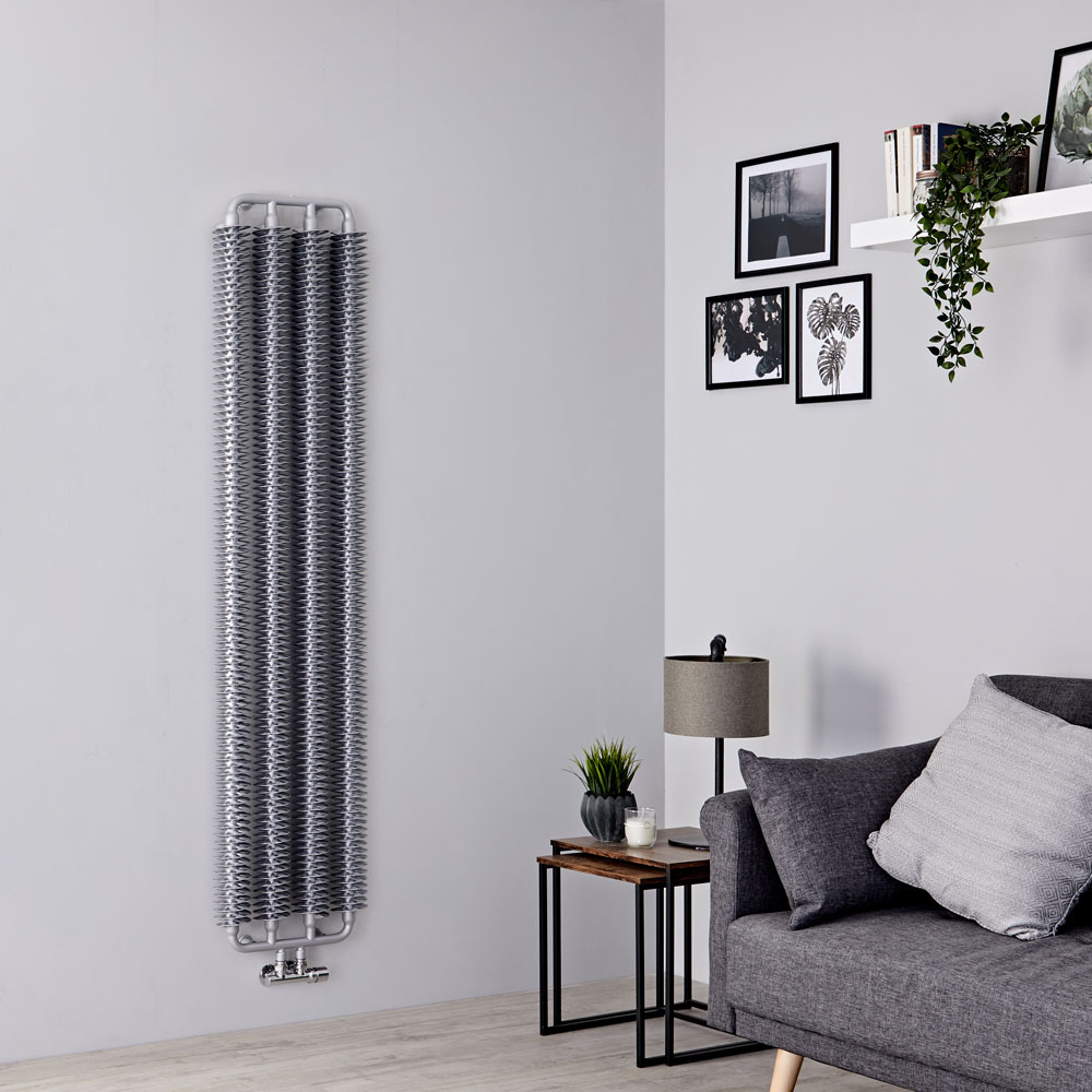 Terma Ribbon - Silver Matt Vertical Designer Radiator 1720mm x 390mm